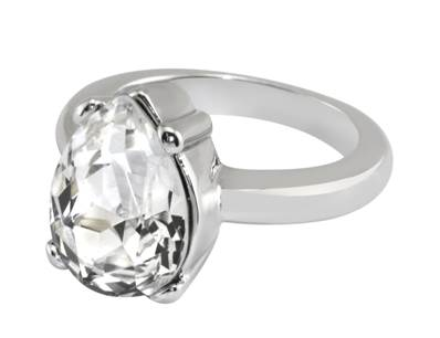 Queen Victoria's Collet drop Clear Crystal ring - Large P