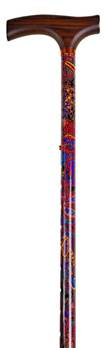 Patterned Adjustable Walking Stick - Adjustable In Height From 28.5to 37.5inches - Paisley