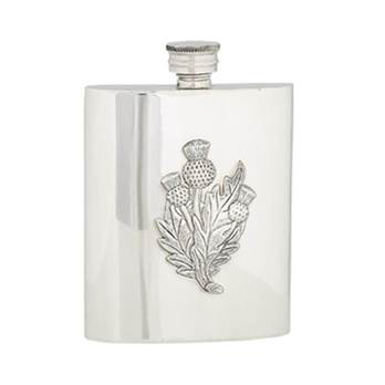 Pewter Hip Flask - 6oz Rectangular with 3 x Thistles Design - by Sgian Dubhs