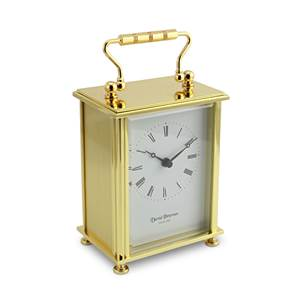 Simple Flat Brass Carriage Clock with Quartz Movement