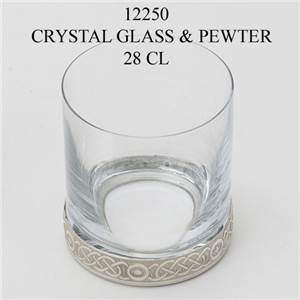 Pewter and Glass Whisky Tumbler 28cl - EBP-12250 by Edwin Blyde.
