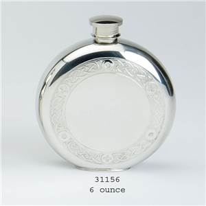 Pewter Flask 6oz Round with Classic Celtic Wire Design with Base Rim - EBP-31156 by Edwin Blyde.