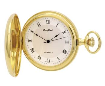 Woodford Full Hunter Gold Plated Mechanical Pocket Watch