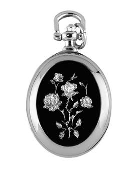 Chrome Quartz Pendant Watch on Chain with Enamelled Rose 1226