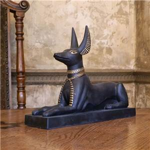 Anubis Ornament Seated - Black and Gold - Large
