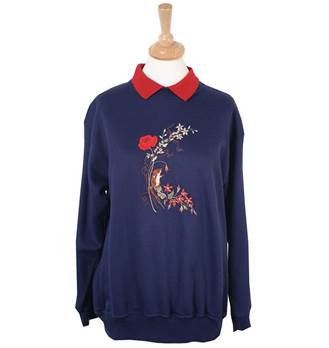Ladies Embroidered Field Mouse Sweatshirt - Navy
