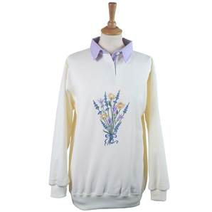 Ladies Embroidered Gingham Lavender Sweatshirt with Collar - Winter White