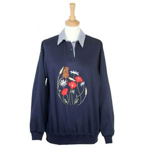 Ladies Embroidered Gingham Harvest Mice Sweatshirt with Collar - Navy Large