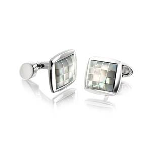 White Mother of Pearl Cushion Cufflinks - Royal Warrant Box