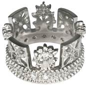 George IV Diadem Ring in Sterling Silver with Diamonds or Cubic Zirconia