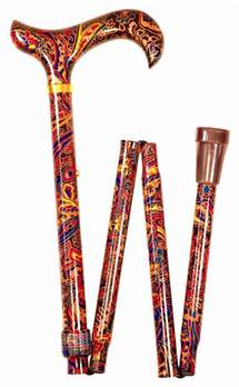 NEW - Folding Walking Stick for Men with Patterned Handles - Red Paisley