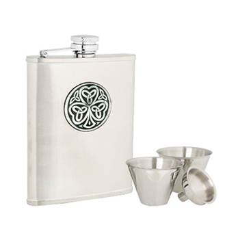 Stainless Steel 6oz Hip Flask with Shamrock Pattern in presentation box with Cups and Funnel