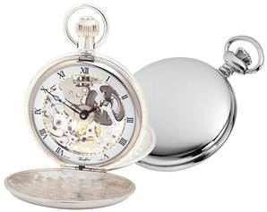 Woodford Swiss-Made Skeleton Pocket Watch - Men's Twin-Lidded Solid Sterling Silver with Albert