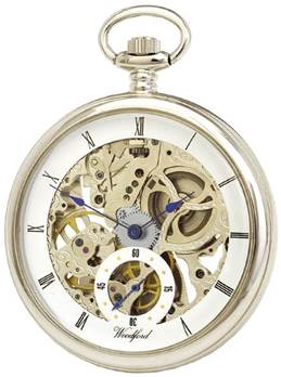Woodford Chrome Plated Open Face Skeleton Full Size Pocket Watch 1043