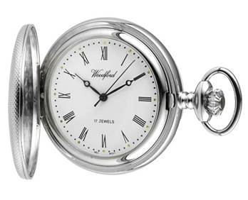 Woodford Mechanical Half-Hunter Pocket Watch, 1055, Men's Chrome Engine-turned Finish with Chain