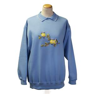 Ladies embroidered Blue Tits sweatshirt in China Blue with cotton mix collar