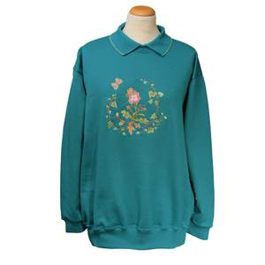 Ladies Embroidered Ivy Rose Sweatshirt with Knitted Collar - Teal