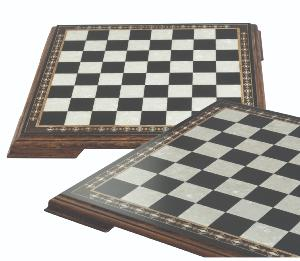 Mini Chess Board with Marquetry & legs in Black and Eco Mother of Pearl 35cm