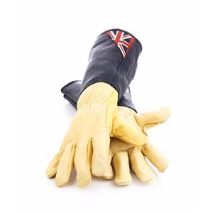 Anti-Bramble Union Jack Gauntlets-Gents Black suede leather with full saddle hide cuff
