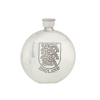 Round Pewter Flask 6oz with England Design - by Sgian Dubhs