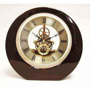 Round red cherry wood skeleton mantel clock SKC10