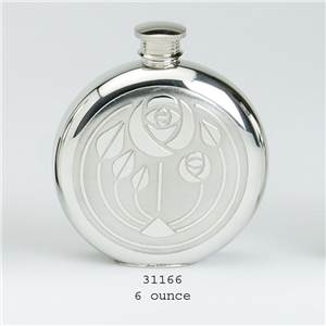 Pewter Flask 6oz Round with Classic Glasgow Bouquet Design with Base Rim - EBP-31166 by Edwin Blyde.