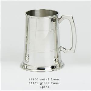 I Pint Pewter Tankard - Standard with Glass Base - EBP-61101 by Edwin Blyde.