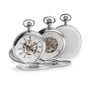Woodford Solid Sterling Silver Twin Lid Pocket Watch with Single Albert