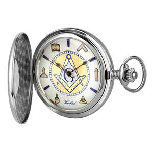 Woodford Masonic Half Hunter Pocket Watch, 17 Jewel, Polished Chrome 1111