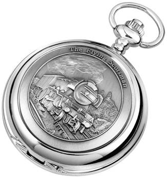 Woodford Full Hunter Chrome/Pewter Flying Scot Pocket Watch 1893