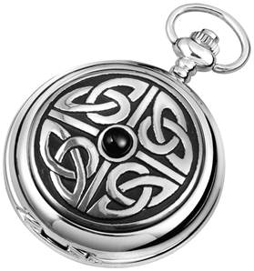 Woodford Full Hunter Chrome/Pewter Celtic Knotwork Pocket Watch 1908