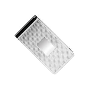 Broad Sterling Silver Money Clip with Wavy line Engraving andPlaque for Intials - HBH-8958