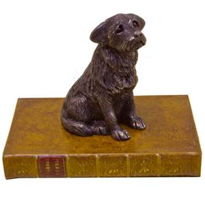 Border Terrier Sitting on a Faux Book Paperweight