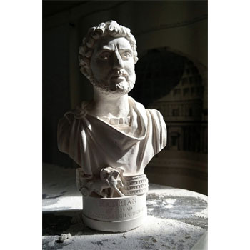 Bust of Roman Emperor Hadrian - Hand crafted in Gypsum Plaster in the UK