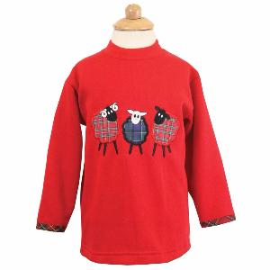 Kids Sheep Trio Embroidered Sweatshirt