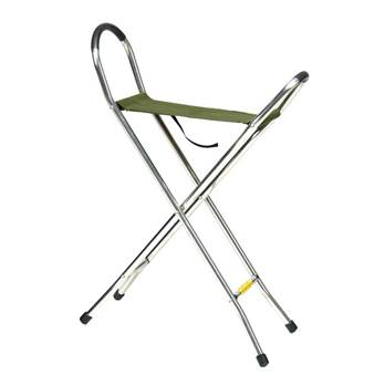 Quattro - folding walking seat stick with 4 legs
