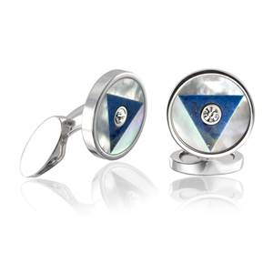Silver Plated Art Deco Cufflinks with a Mother of Pearl and Lapis Lazuli Inlay