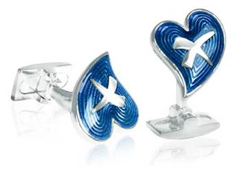 Heart and Kiss - Blue Enamel Cufflinks