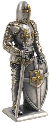 Medieval Pewter Statue - Knight with Sword and Shield