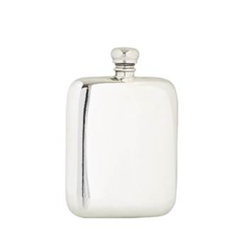 Pewter Hip Flask 4oz - Rectangular Plain Design  - by Sgian Dubhs