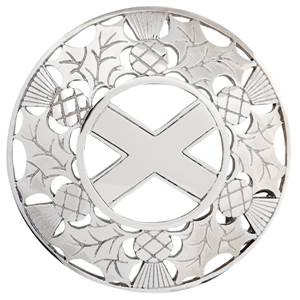 Open Thistle / Saltire Plaid Brooch in Pewter.
