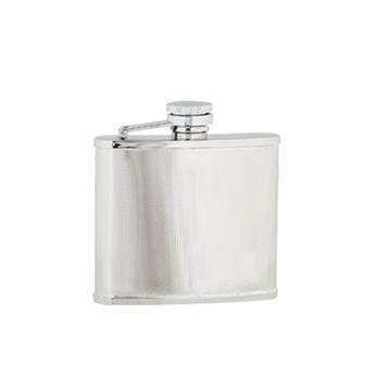 "Hip Flask - Stainless Steel with ""Captive Top"" in Checked Pattern"