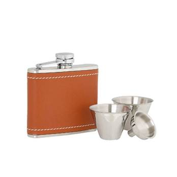 Tan Leather Covered 4oz Stainless Steel Flask set with Cups and Funnel in Presentation Box