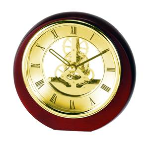 Mini Round Skeleton Mantel Clock with Gold Plated bezel SKC17