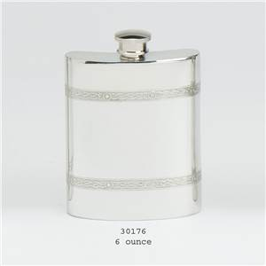 Pewter Hip Flask 6oz Celtic Wire Design - EBP-30176 by Edwin Blyde.