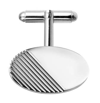 silver, rhodium Plated Striped T-bar Cufflinks