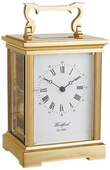 Solid Brass Carriage Clock Grande Size Anglaise Style 8-day Laquered 1414 - Woodford