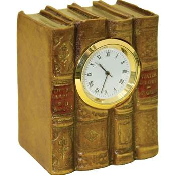 Miniature Book Desk Clock - Tan