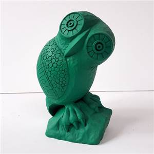 Owl Bookend in Emerald Green - Hand crafted in Gypsum Plaster in the UK