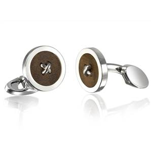 Button Cufflinks - Silver Plated with Walnut Inlays